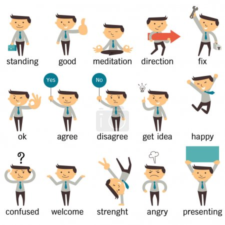 Illustration for Set of businessman character or office person in various poses, expressing feeling and emotional concept, isolated on white. - Royalty Free Image