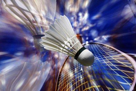 Photo pour Badminton Game. Raquette Badminton et Shuttlecock. Mémoire de badminton . - image libre de droit
