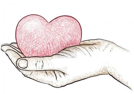Illustration for Illustration of a hand holding a heart - Royalty Free Image