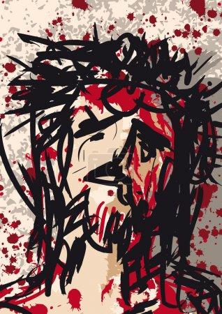 Photo pour Illustration de Jésus-Christ couronné d'épines - image libre de droit
