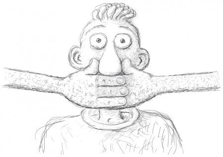 Illustration for Illustration of character with hand over mouth - Royalty Free Image