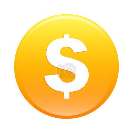 Illustration pour Bouton internet argent finance icône orange signe - image libre de droit