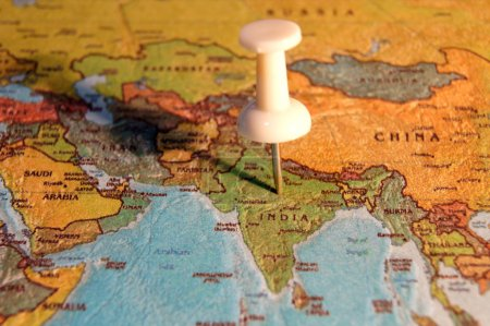 Photo for Map with a marker that points to India - Royalty Free Image