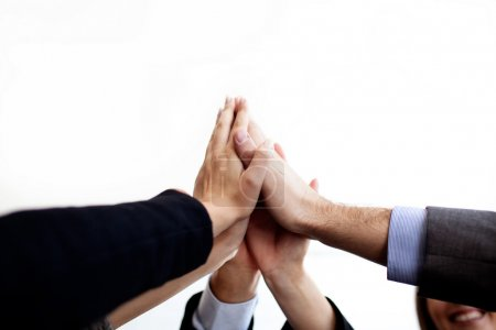 Photo for Business joining hands together isolated. - Royalty Free Image