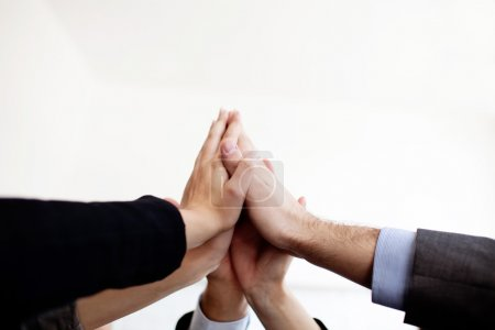 Photo for Group of business joining hands together isolated. - Royalty Free Image