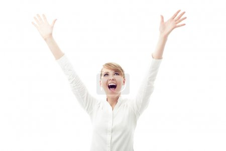 Successful female student with arms outstretched