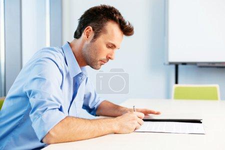 Student taking a written test...