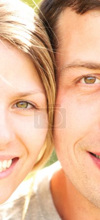 Photo for Nice face of couple in love outdoors - Royalty Free Image