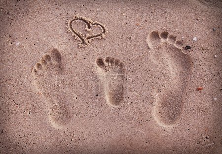 family footprints in the sand on the seashore