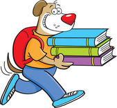 Cartoon illustration of a dog carrying books