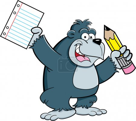 Illustration for Cartoon illustration of a gorilla holding a pencil and paper - Royalty Free Image