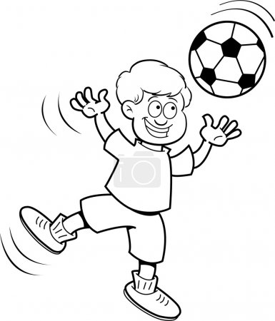 Cartoon boy playing soccer