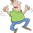 Cartoon illustration of a man jumping with thumbs up.