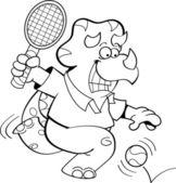 Cartoon Dinosaur Playing Tennis (Black and White Line Art)