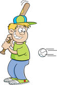 Cartoon boy hitting a baseball
