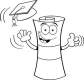 Black and white illustration of a diploma tossing a graduation cap into the air