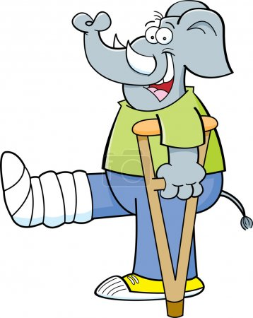 Cartoon elephant with his leg in a cast