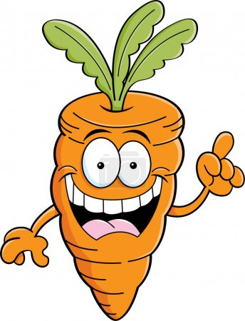 Illustration for Cartoon illustration of a carrot with an idea. - Royalty Free Image
