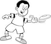 Cartoon boy throwing a flying disc