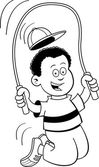 Black and white illustration of a boy jumping rope