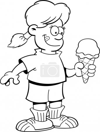 Illustration for Black and white illustration of a girl eating an ice cream cone. - Royalty Free Image