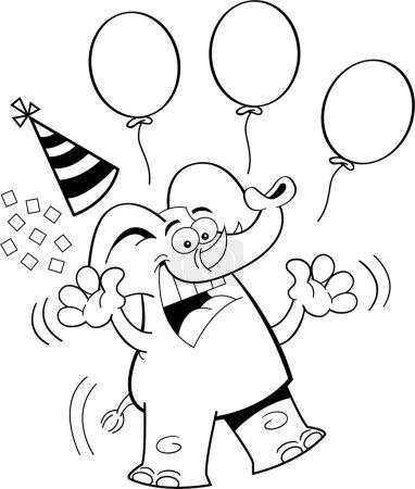 Cartoon Birthday Elephant Jumping (Black and White Line Art)