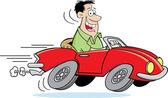 Cartoon Man Driving a Car