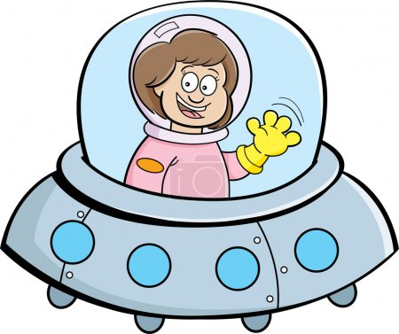 Illustration for Cartoon illustration of a girl in a spaceship. - Royalty Free Image