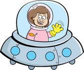 Cartoon Girl in a Spaceship