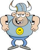 Cartoon angry man wearing a viking helmet