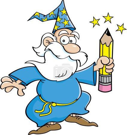 Illustration pour Illustration de bande dessinée d'un magicien tenant un crayon . - image libre de droit