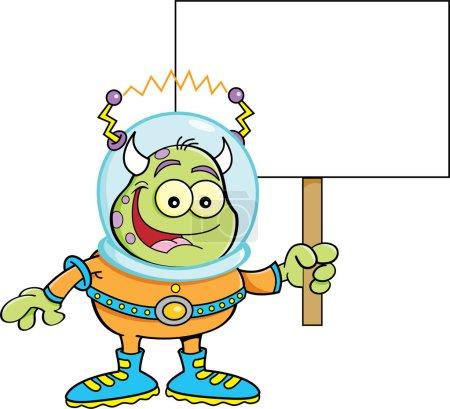 Cartoon alien holding a sign