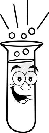 Cartoon Test Tube (Black & White Line Art)