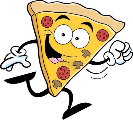 Cartoon illustration of a slice of pizza running.