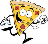 Cartoon illustration of a slice of pizza running
