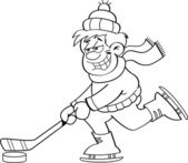 Cartoon Boy Playing Hockey