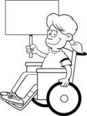 Cartoon girl in a wheelchair holding a sign