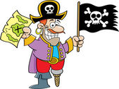 Cartoon pirate holding a flag and map