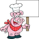 Cartoon illustration of a pig wearing a chef's hat and holding a si