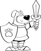Cartoon dog dressed as a knight