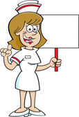 Cartoon nurse holding a sign