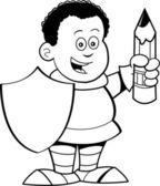 Cartoon boy dressed as a knight