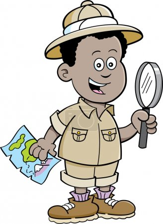 Cartoon African boy explorer