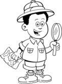 Cartoon African boy explorer