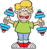 Cartoon illustration of a boy exercising with weights