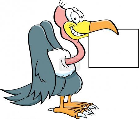 Cartoon buzzard holding a sign.