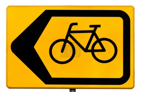 Photo for Yellow rectangular road sign for cyclists indicating a traffic diversion - Royalty Free Image