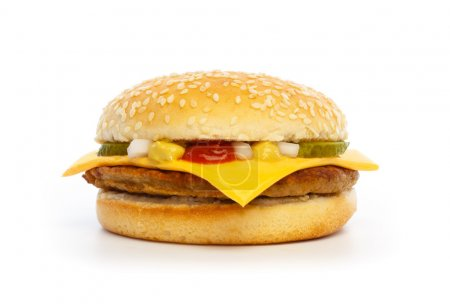 Hamburger with cheese, pickles, onion and sauce