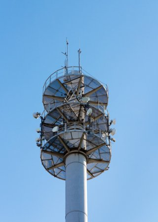 Communication mast for various antennae and dishes