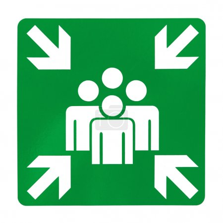 Green assembly point sign